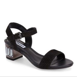 Dune Black Sandals w/Crystal Block Heel